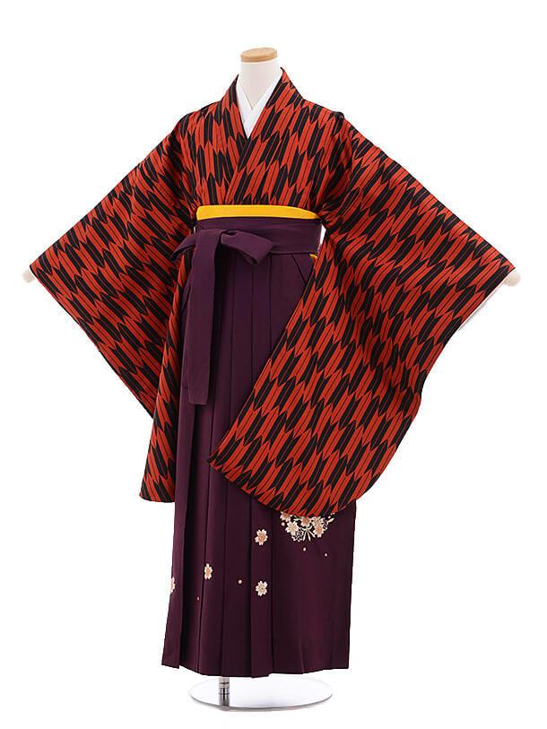 小学生卒業式袴レンタル(女の子)9696赤黒矢柄×紫袴