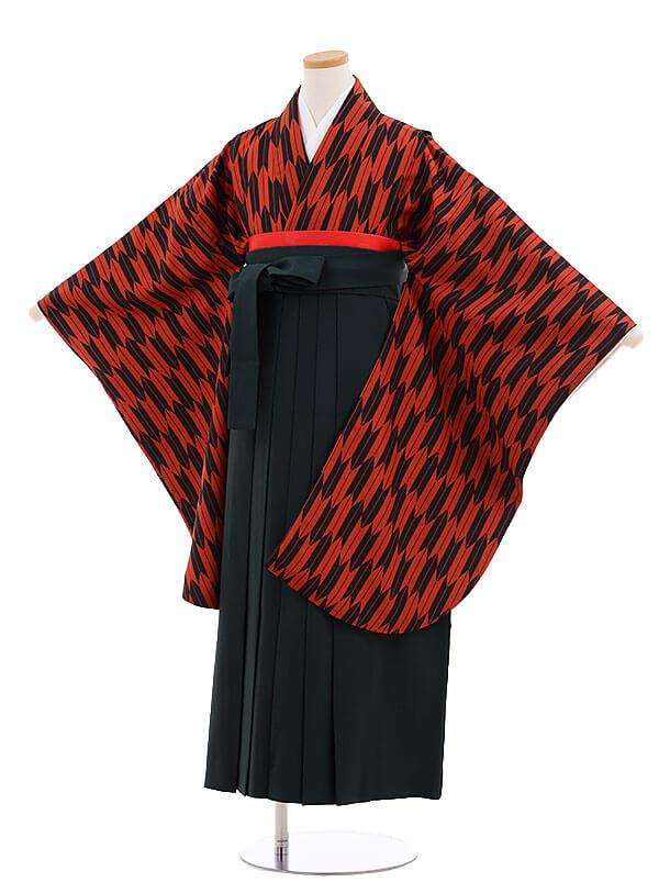 小学生卒業式袴レンタル(女の子)9697赤黒矢柄×グリーン袴
