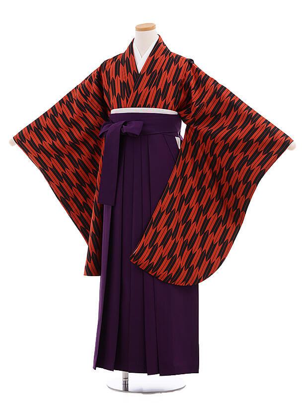 小学生卒業式袴レンタル(女の子)9699赤黒矢柄×紫袴