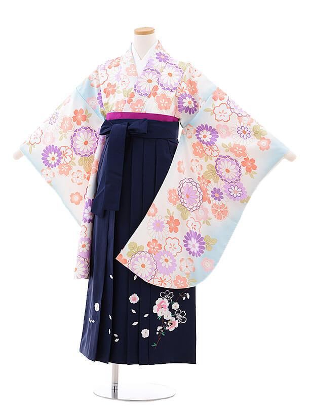 小学生卒業式袴レンタル(女の子)9725 水色菊桜×紺袴
