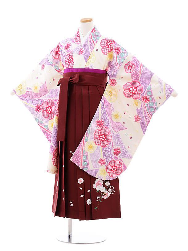 小学生卒業式袴レンタル(女の子)9727 クリーム地のしめ鹿の子×エンジ袴