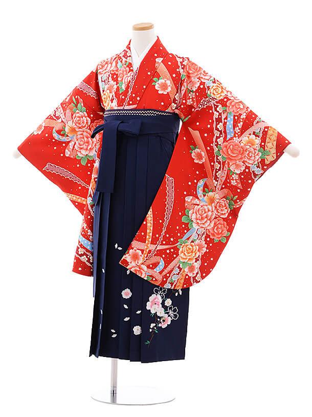 小学生卒業式袴レンタル(女の子)9737 赤地バラリボン×紺袴