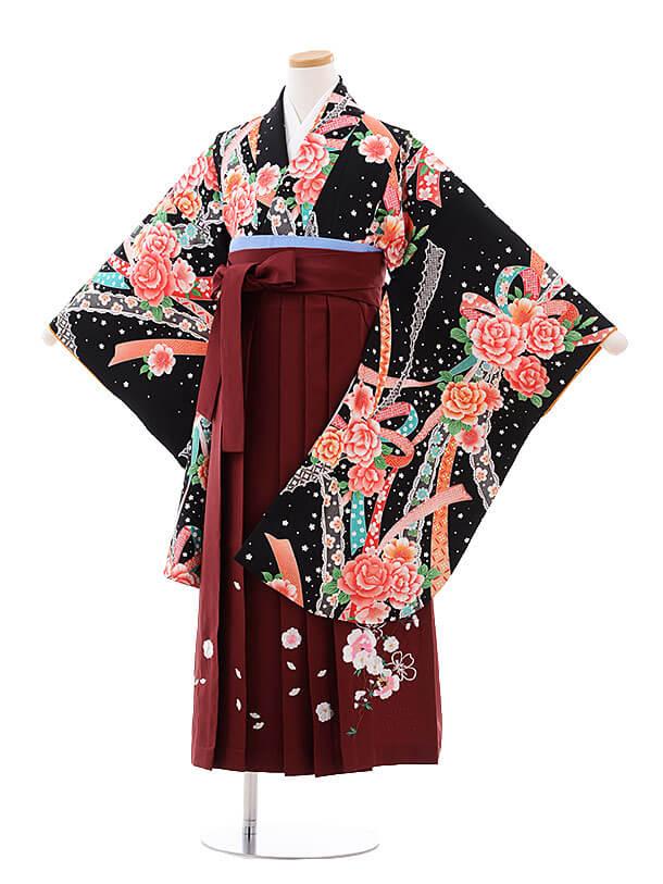 小学生卒業式袴レンタル(女の子)9739 黒地バラリボン×エンジ袴