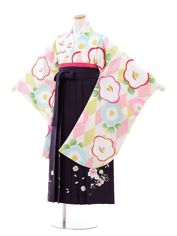 小学生卒業式袴レンタル(女の子)9740 白ピンク椿×パープル袴