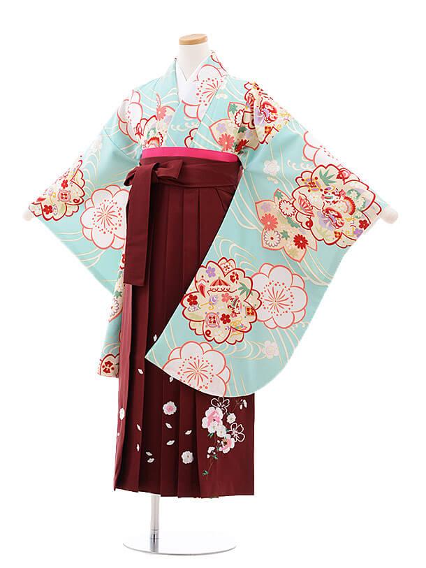小学生卒業式袴レンタル(女の子)9742 水色寿梅桜×エンジ袴