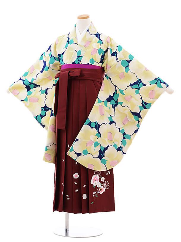 小学生卒業式袴レンタル(女の子)9743 紺地白椿×エンジ袴