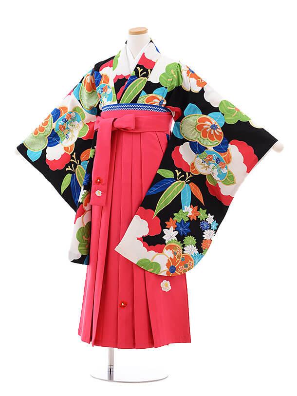 小学生卒業式袴レンタル(女の子)9744 黒地雲取橘×ピンク袴