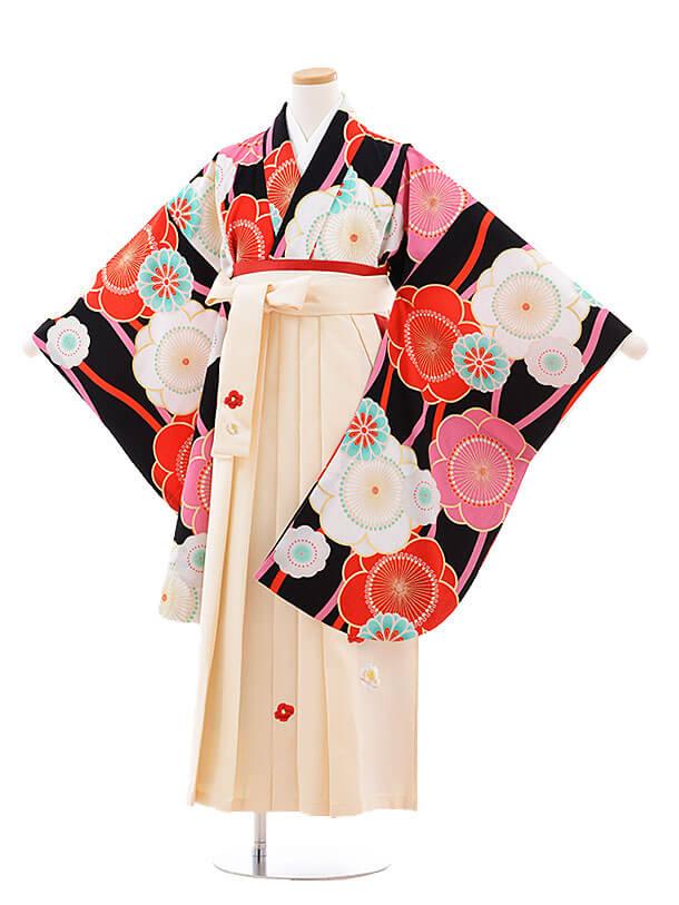 小学生卒業式袴レンタル(女の子)9746 黒地梅×クリーム袴