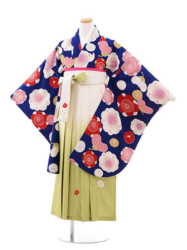 小学生卒業式袴レンタル(女の子)9748 紺地梅×クリームぼかし袴