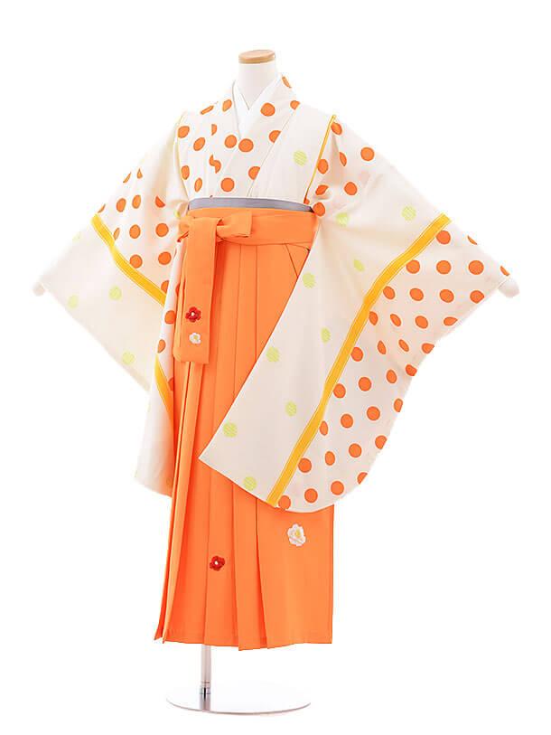 小学生卒業式袴レンタル(女の子)9751 クリーム地水玉×オレンジ袴