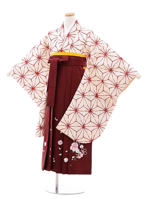 小学生卒業式袴レンタル(女の子)9758 クリーム地麻の葉×エンジ袴
