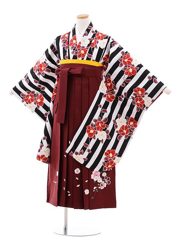 小学生卒業式袴レンタル(女の子)9763 グレーグリーン花×金茶袴