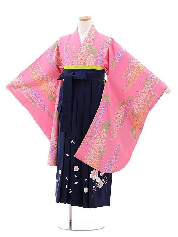 小学生卒業式袴レンタル(女の子)9773 ピンク地藤×紺袴