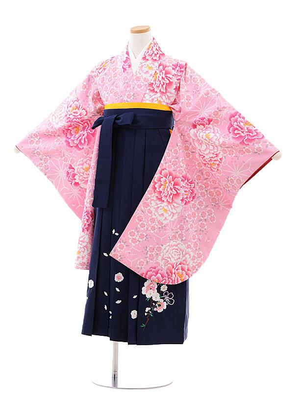 小学生卒業式袴レンタル(女の子)9774 ピンク地桜ぼたん×紺袴