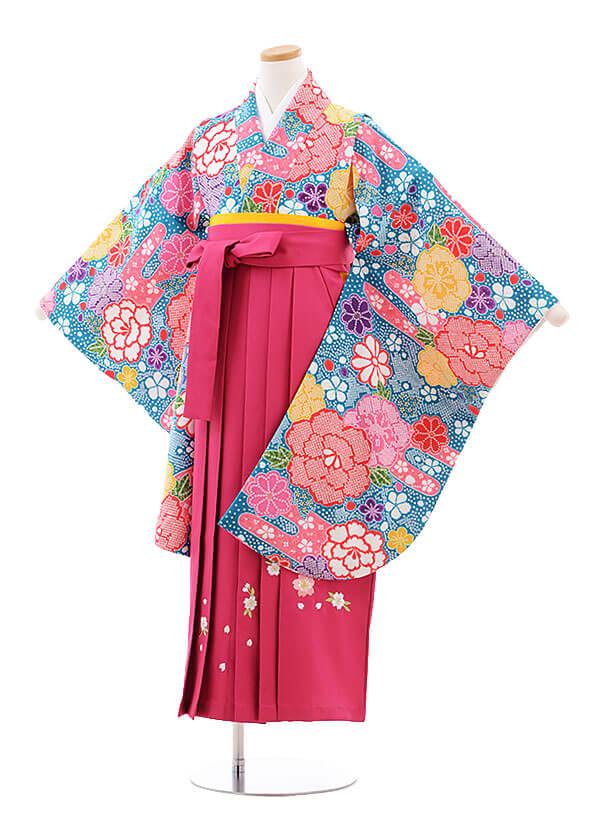 小学生卒業式袴レンタル(女の子)9776 ブルー地鹿の子柄×ピンク桜袴