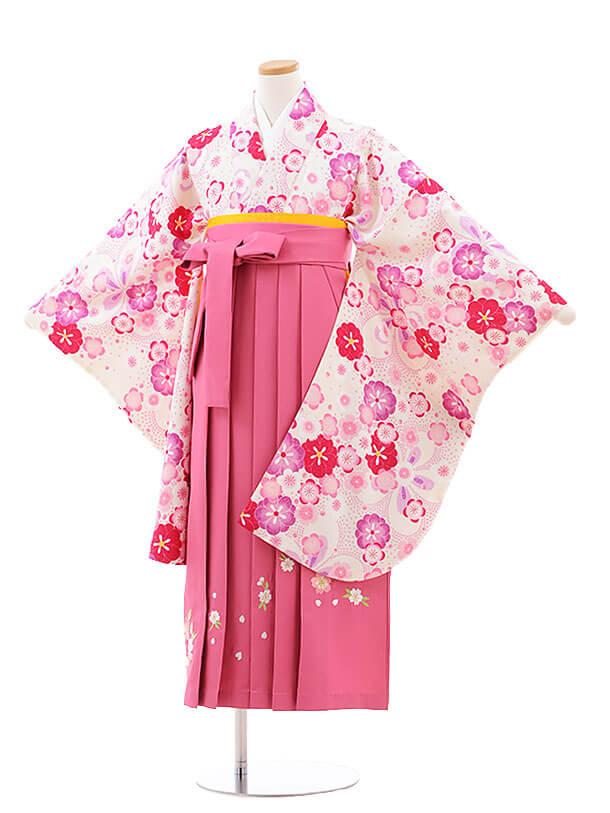 小学生卒業式袴レンタル(女の子)9777 白地梅×ピンク桜袴