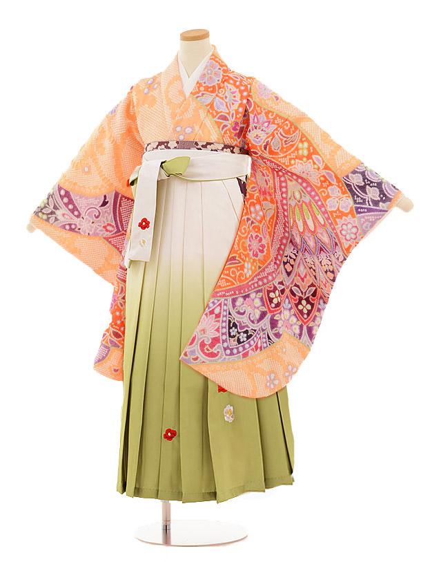 小学生卒業式袴レンタル(女の子)9805 薄オレンジ絞り×白グリーン袴