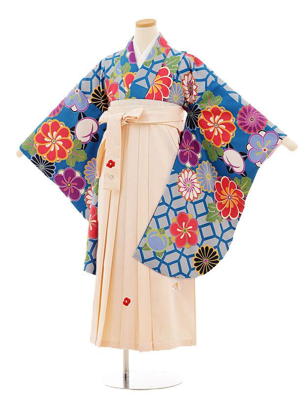 小学生卒業式袴レンタル(女の子)9808 ブルー地菊梅×アイボリー袴