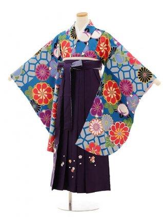 小学校卒業式袴レンタル(女の子)9809 ブルー地菊梅×パープル袴