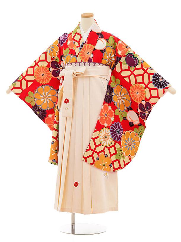小学生卒業式袴レンタル(女の子)9810 赤地菊梅×アイボリー袴