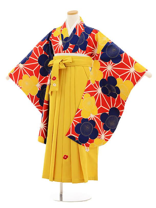 小学生卒業式袴レンタル(女の子)9819 赤地麻の葉梅×イエロー袴