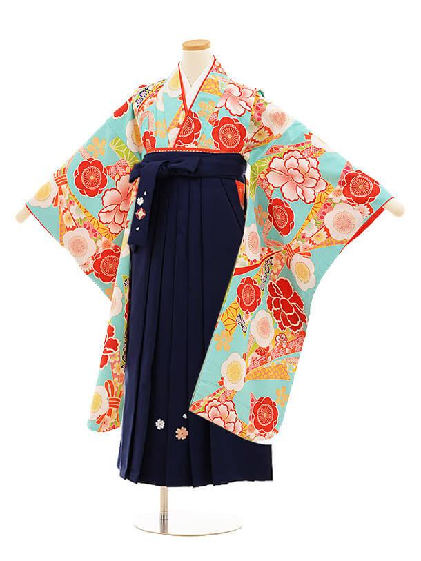 小学生卒業式袴レンタル(女の子)9822 小町kids 水色花×紺袴