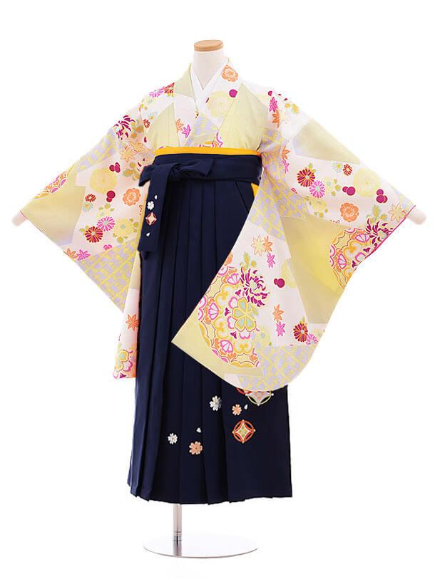 小学生卒業式袴レンタル(女の子)9847 ライムグリーン×紺袴