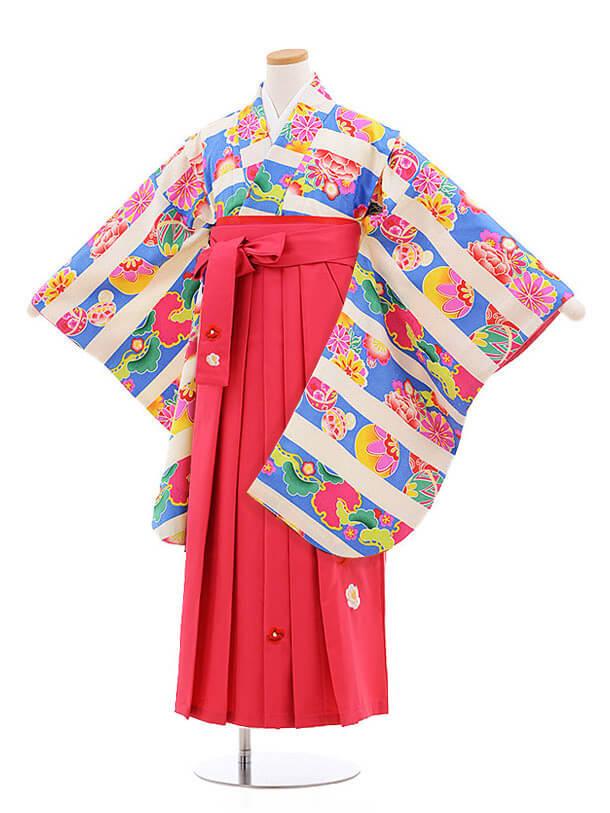 小学生卒業式袴レンタル(女の子)9850 ブルーまり花×ピンク袴