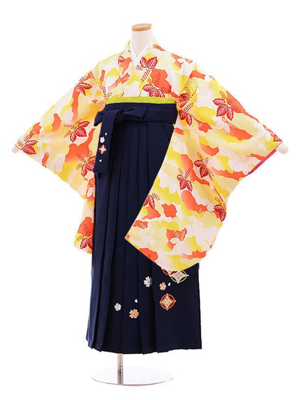 小学生卒業式袴レンタル(女の子)9861 黄色桐×紺袴