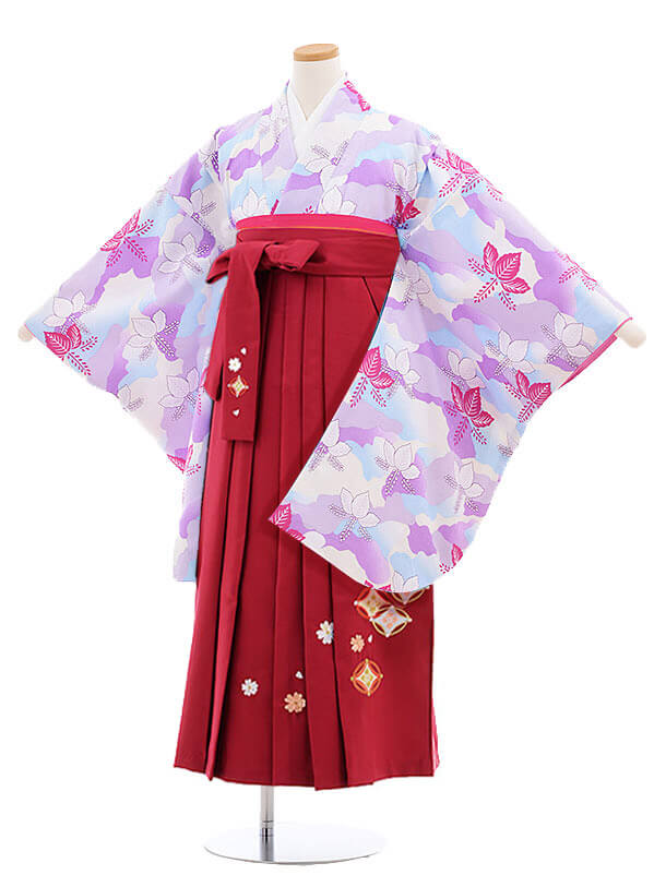 小学生卒業式袴レンタル(女の子)9862 スミレ色桐×ローズ袴