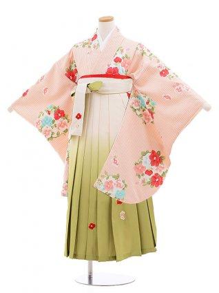 小学校卒業式袴レンタル(女の子)9867 ピンクストライプ椿×白グリーン袴