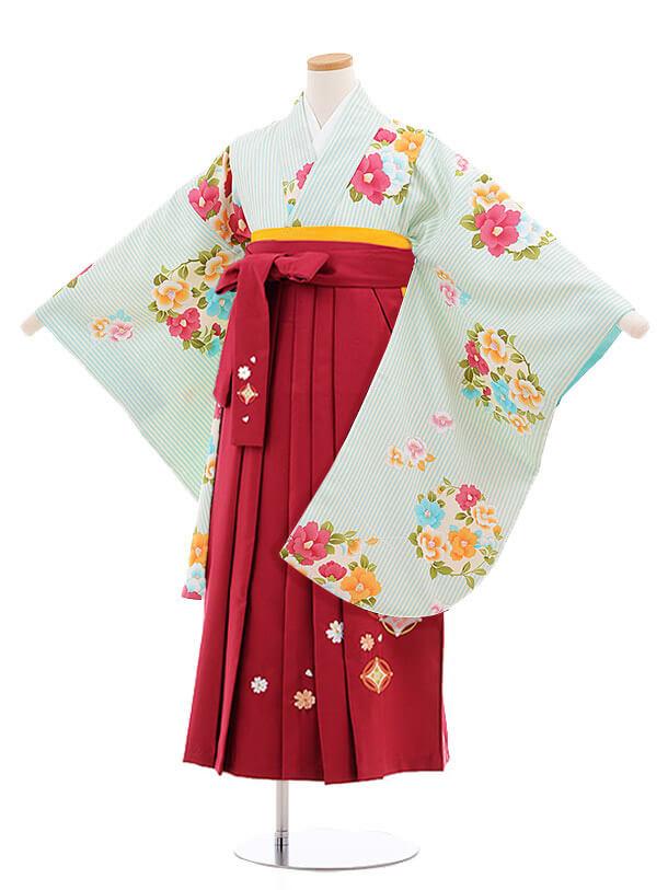 小学生卒業式袴レンタル(女の子)9868 ペパーミントストライプ椿×ローズ袴