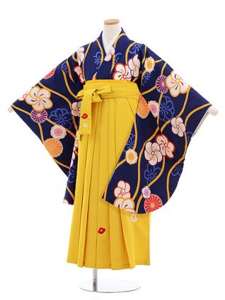 小学校卒業式袴レンタル(女の子)9870 紺地ねじり梅×イエロー袴
