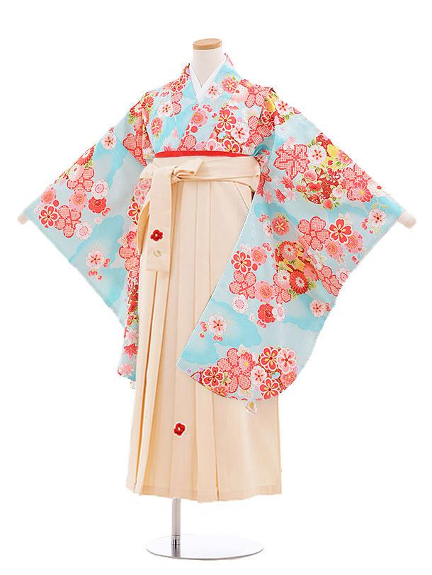 小学生卒業式袴レンタル(女の子)9886 水色雲取り花×アイボリー袴
