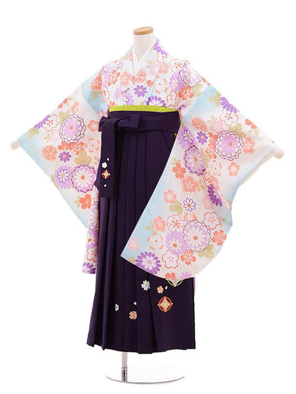小学生卒業式袴レンタル(女の子)9889 水色菊桜×紫袴