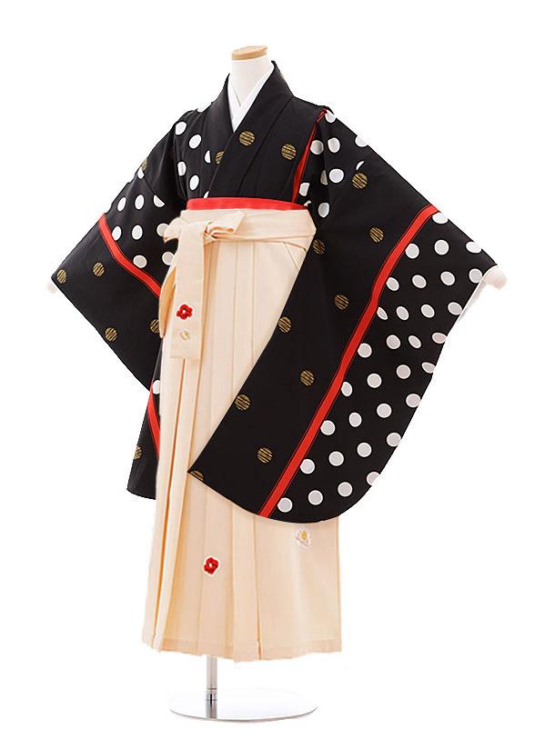 小学生卒業式袴レンタル(女の子)9896 黒地水玉×アイボリー袴
