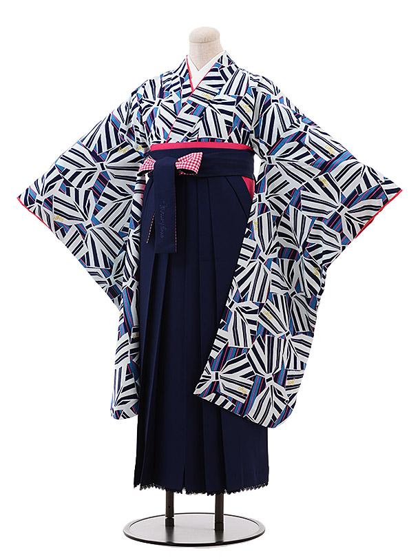 小学生卒業袴(女児)9901 メゾピアノ 紺リボン×紺袴