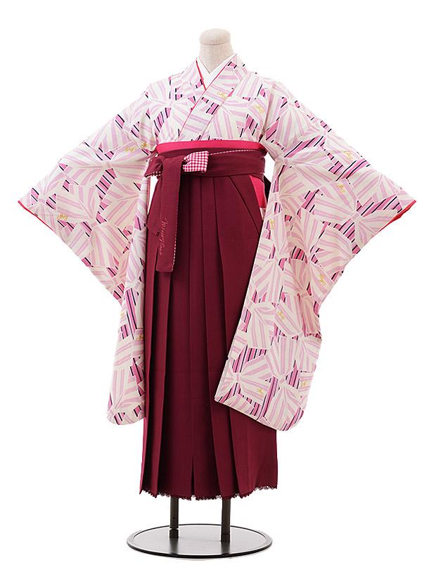 小学生卒業袴(女児)9902 メゾピアノ ピンクリボン×エンジ袴