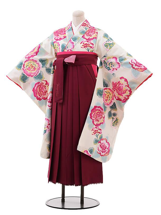小学生卒業袴(女児)9903 メゾピアノ 白地 花×エンジ袴