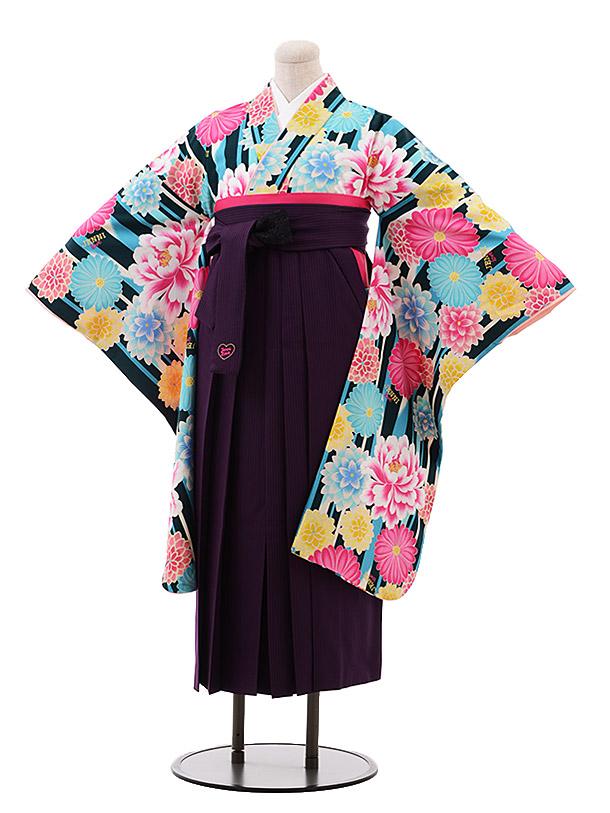 小学生卒業袴女児9905JENNI loveグリーンストライプ花×紫袴