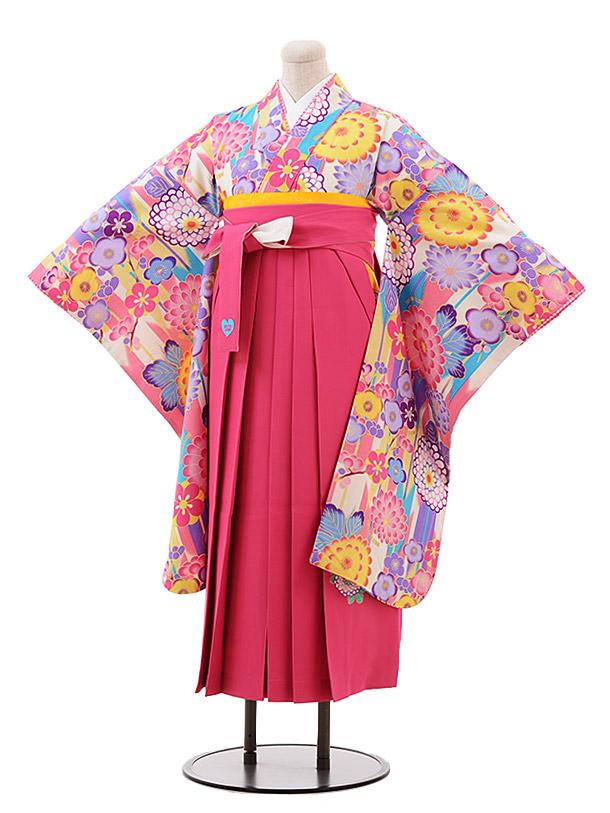 小学生卒業袴(女児)9906 SISTER JENNI ピンク 花×ピンク袴