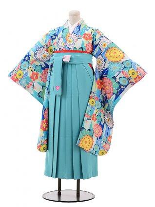 小学生卒業式袴9907 SISTER JENNI 水色 花×ターコイズ袴