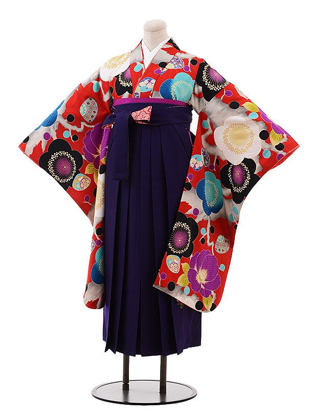小学生卒業袴(女児)9909 九重 赤地 梅椿×パープル袴