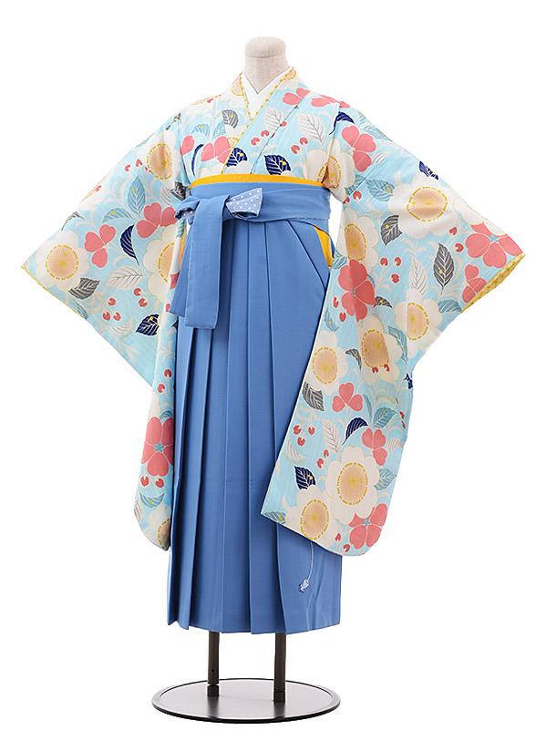 小学生卒業袴(女児)9912 ポンポネット 水色 花×水色袴