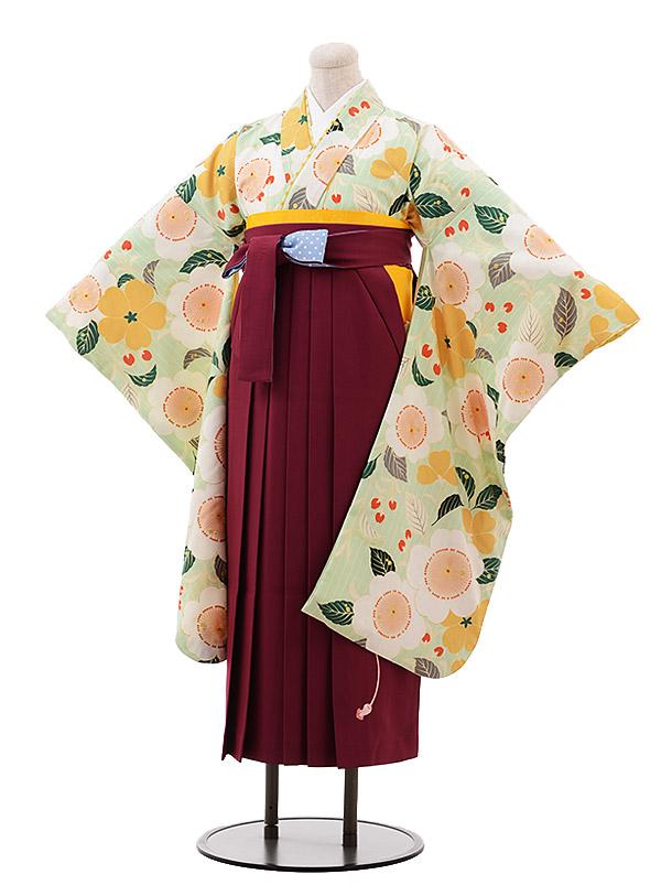 小学生卒業袴女児9915ポンポネット パステルグリーン 花×エンジ袴