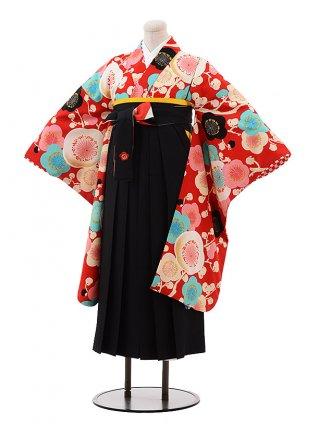 小学生 卒業式 袴 女児 9916 紅一点 赤地 梅×黒袴