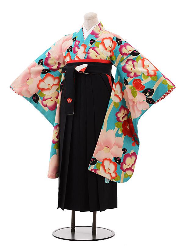 小学生卒業袴(女児)9917 紅一点 ターコイズ 椿×黒袴
