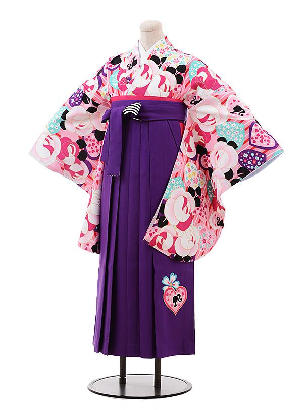 小学生卒業袴(女児)9921 Barbie ピンク バラ×パープル袴