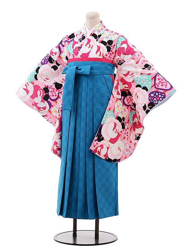 小学生卒業袴(女児)9922 Barbie ピンク バラ×ターコイズ袴
