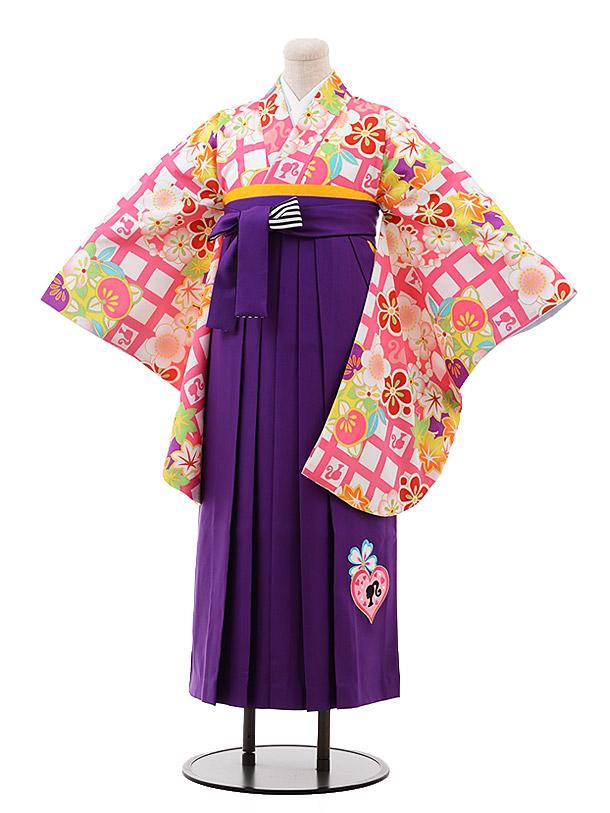 小学生卒業袴(女児)9924 Barbie 白 ピンク格子×パープル袴